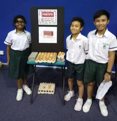 The team did a simple demonstration using the concept of pressure to explain why eggs do not break when hens sit on them. They explained the unique curved shape of an egg which helps to distribute pressure evenly over the shell and thereby giving it a tremendous strength to withstand the weight of a hen.