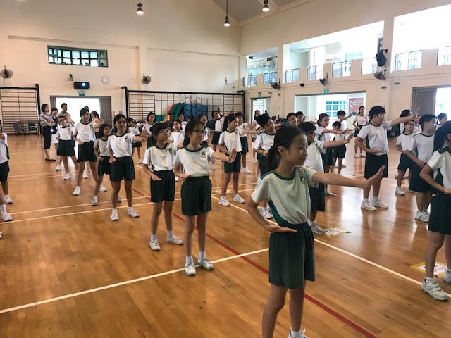 P4 students doing Wushu at Culture Camp