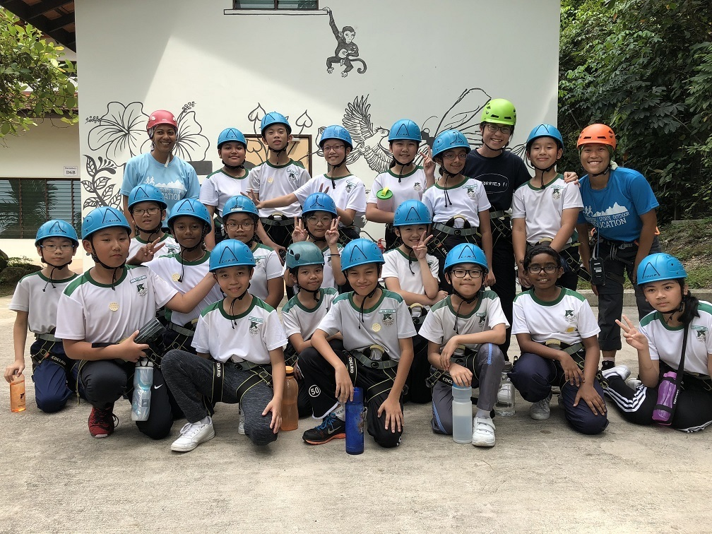 All geared up and ready to conquer the Challenge Rope Course (CRC).
