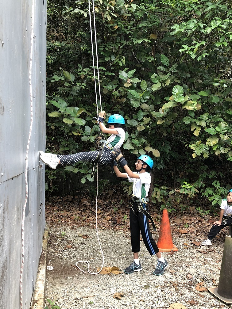 Students learnt to help and support each other during abseiling.